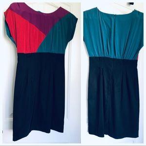 Block-color, mid-length dress